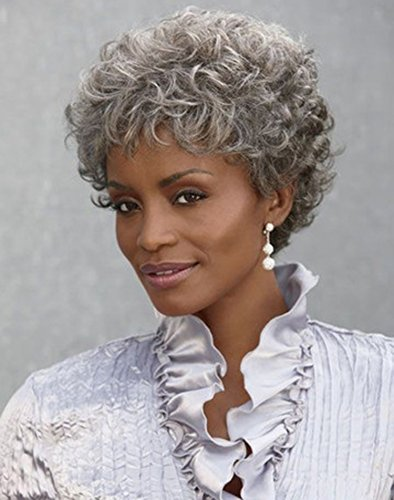 YIMANEILI Silver Gray Short Curly Wigs for Women - Gray Mix Black Fluffy Wigs with Bangs Senior Synthetic Fibre Heat Resistant Hair Wig