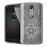 Droid Turbo 2 Case, Cruzerlite Bugdroid Circuit Case Compatible for Motorola Droid Turbo 2 - Retail Packaging - Clear