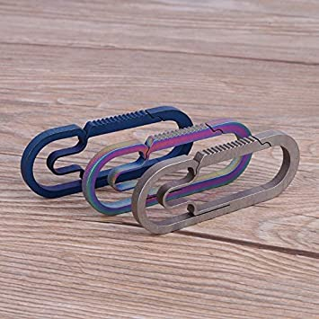 PQZATX Edc Outdoor Camping Carabiner Titanium Alloy Keychain Hanging Buckle Snap Hooks Colorful Large