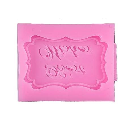 Yililay Molde de pastel Patrón feliz cumpleaños de silicona pasta de azúcar del molde DIY hornada