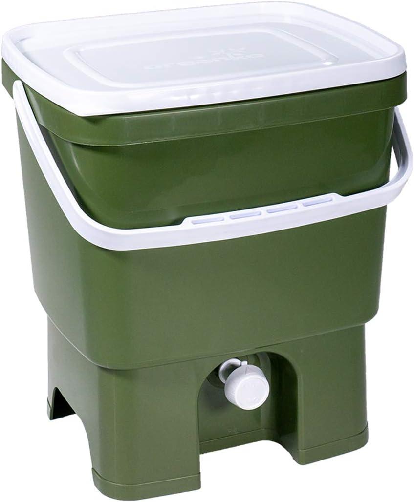 Vert Olive avec de EM Bokashi Ferment 1 kg Skaza Bokashi Organko Set 2 x 16 L Starter Set pour Les D/échets de Cuisine et Le Compostage Lot de 2 Composteurs en Plastique Recycl/é