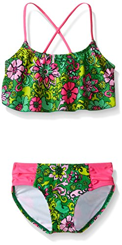 Kanu Surf Little Girls' Karlie Flounce Bikini Beach Sport 2-Piece Swimsuit, Floral Green, 4