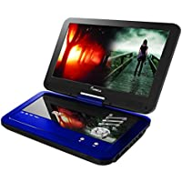 Impecca 10.1 Inch Portable DVD Player- Blue DVD Player With 6 Hour Rechargeable Battery And Swivel Screen, Rechargeable DVD Player