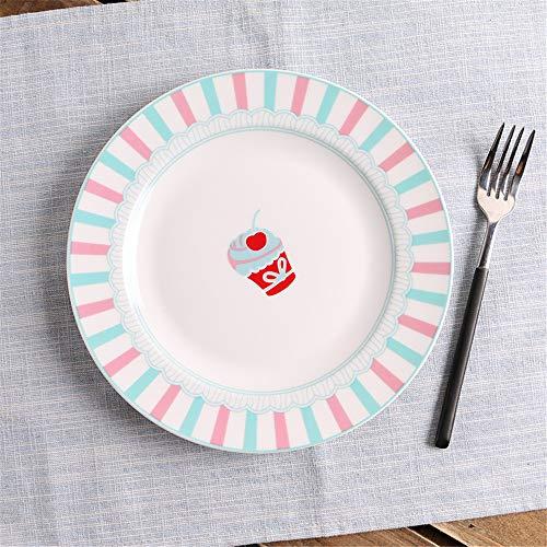 XQJDD Ceramic steak dish Nordic tableware cake snack western food dish creative fruit plate powder white green small grid 20.5cm