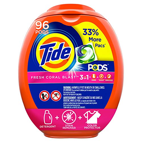 (Tide PODS Laundry Detergent Liquid Pacs, Fresh Coral Blast Scent, HE Compatible, 96 Count (Packaging May Vary))