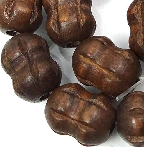 (19x14mm Coconut Brown Wood Carved Peanut/Drum Barrel Beads 15'')