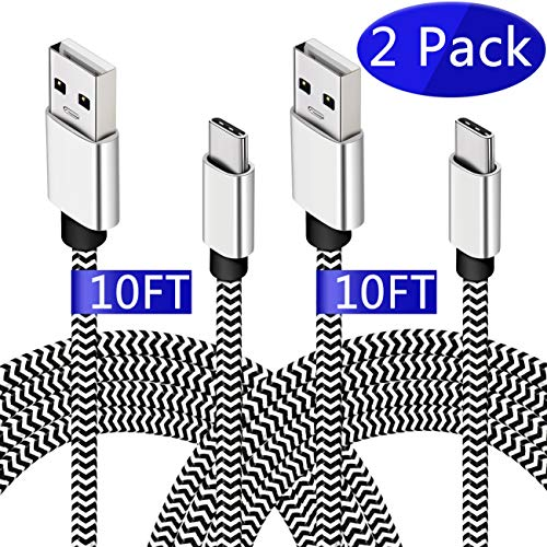 (USB Type C Cable,[10FT,2 Pack] Durable USB C to A Fast Charger Nylon Braided Cord Compatible for Samsung Galaxy S9 S8 Plus Note 9 8,LG V40 V30 V20 G6, Moto G6 Z2, Google Pixel 2 3 XL, Nintendo Switch)