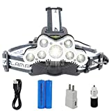 Lightess LED Headlamp Super Bright 7XML T6+ 2R2 Headlight 8000 Lumens Waterproof Head Torch Flashlight with Rechargeable Batteries for Outdoor Hiking Camping Hunting Running Fishing, SQ-011