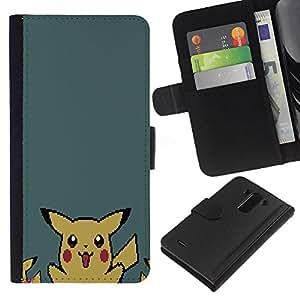 LECELL--Cuero de la tarjeta la carpeta del tirón Smartphone Slots Protección Holder For LG G3 -- P1Kachu Pixel P0kemon --