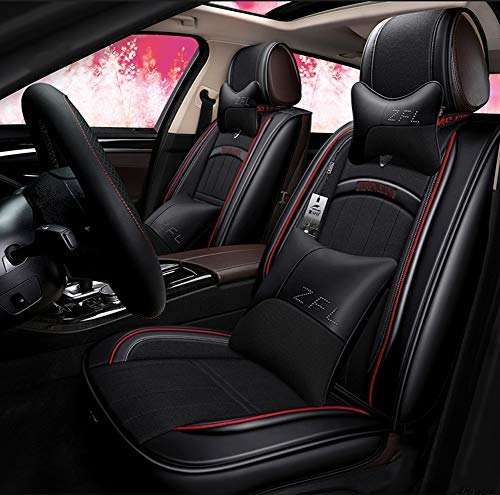 New Cushions Leather Front And Rear Seat Covers,Universal 5 Seats Car Waterproof Leather Car Seat Covers Protector Adjustable,black: