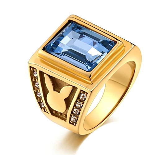 Aooaz Stainless Steel Ring for Men Polished-Finish Rabbit With Stone Signet Rings Azure US Size 11 (Ring Bearer Watch)
