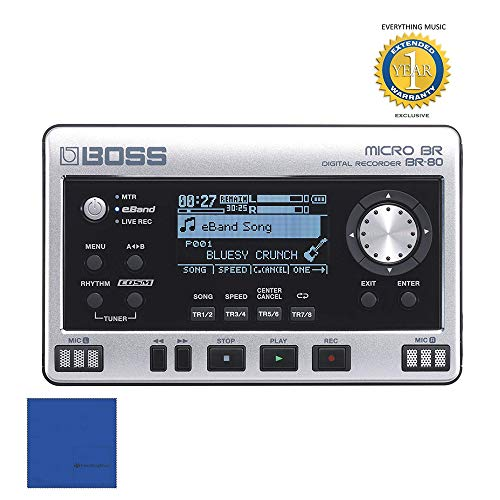 - Boss Micro BR BR-80 8-track Digital Recorder with 1 Year Free Extended Warranty