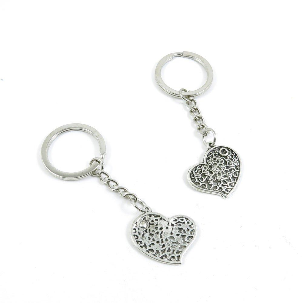 40 Pieces Keychain Door Car Key Chain Tags Keyring Ring Chain Keychain Supplies Antique Silver Tone Wholesale Bulk Lots X5GW3 Love Heart
