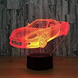 Novelty Lamp, 3D Child Car Optical Illusion Night Light USB Charging LED Lamp, Color Change 5 Color for Bedroom, Kids Room, Coffee Table, Christmas Decoration and Lover Gift,Ambient Light