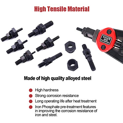 """Hilitchi 13"""" Hand Rivet Nut Setter Kit with 6-Piece Mandrels M5, M6, M8, 10-24, 1/4-20, 5/16-18 Hand Riveter Tool Kit Metric & SAE Nose for Easily Handling Riveting by Hilitchi (Image #5)"""