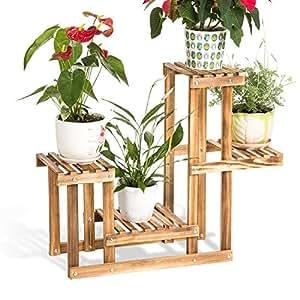Solid wood flower racks wooden living room multi - storey floor pots