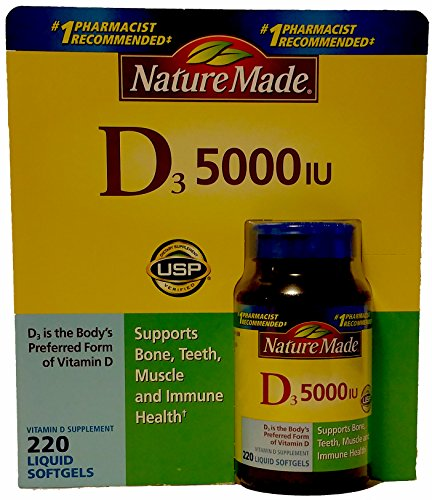 Nature Made Vitamin D-3 5000IU 220 Count Softgels