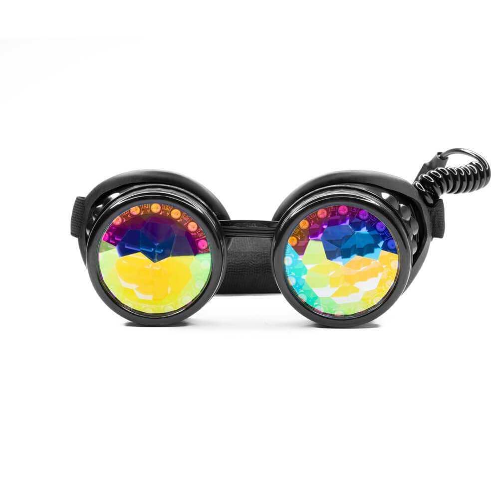 GloFX Pixel Pro Kaleidoscope Goggles [350+ Epic Modes] - Programmable Rechargeable Light Up EDM Festival Rave Party Sunglasses Glow LED Glasses by GloFX