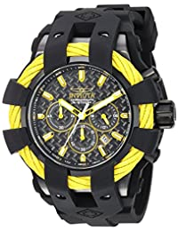 Invicta Men's 'Bolt' Quartz Stainless Steel and Silicone Casual Watch, Color:Black (Model: 23871)