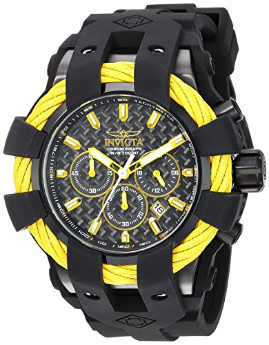 Men's 'Bolt' Quartz Stainless Steel and Silicone Casual Watch, Color:Black (Model: ) - Invicta 23871