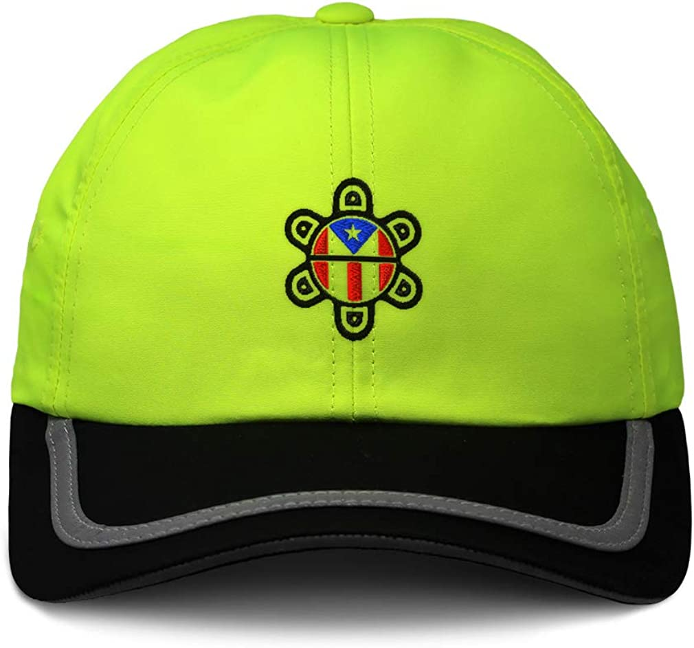 Custom Reflective Running Hat Puerto Rico Flag Sol Taino B Embroidery One Size