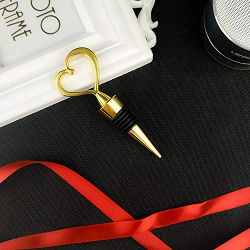 24PCS Wedding Favor for Guests,Matal Alloy Heart Wine Bottle Stopper Champagne Saver with Gift Box for Party Souvenirs Gift Supplies Decoration by WeddParty (Pack of 24 Golden Heart) by WeddPtyFr (Image #4)