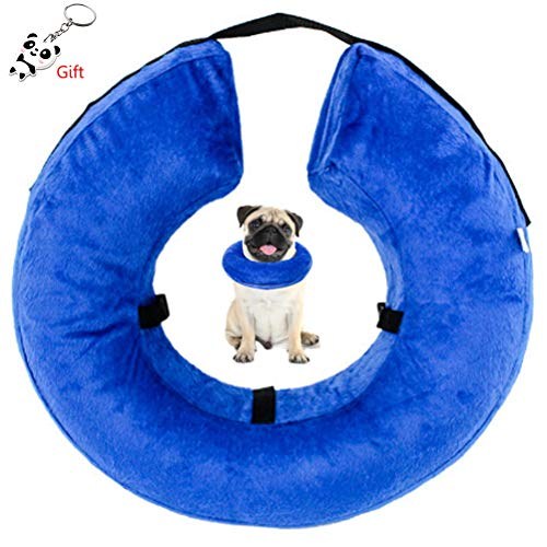 SUMAJU Dog Cone,Inflatable Soft Pet Cone After Surgery Recovery Cone Collars with Adjustable Velcro for Dogs and Cats ()