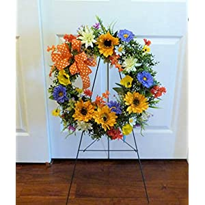 Cemetery Wreath Father's Day, Summer Cemetery Wreath, Cemetery Wreath with Sunflowers 61