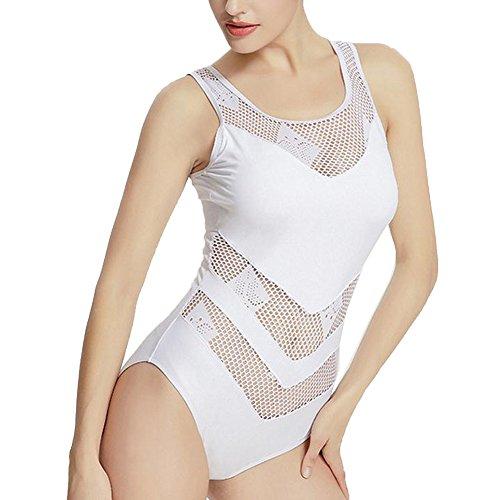 Vividda Bañador de Mujer Deportes traje de baño de una pieza Blanco