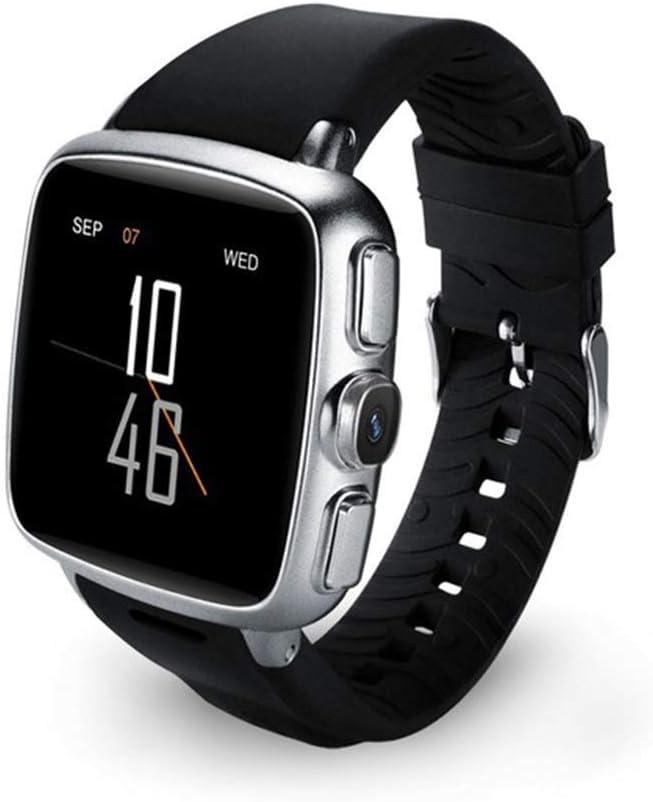 AIBF GPS SmartWatch, podómetro Impermeable Pantalla táctil cámara Llamada Bluetooth Reproductor de música para Android iOS Teléfono Mujer Hombre,Silver-OneSize