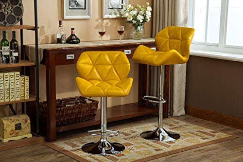 Roundhill Furniture PC190YL Glasgow Contemporary Tufted Adjustable Height Hydraulic Yellow Bar Stools, Set of 2,