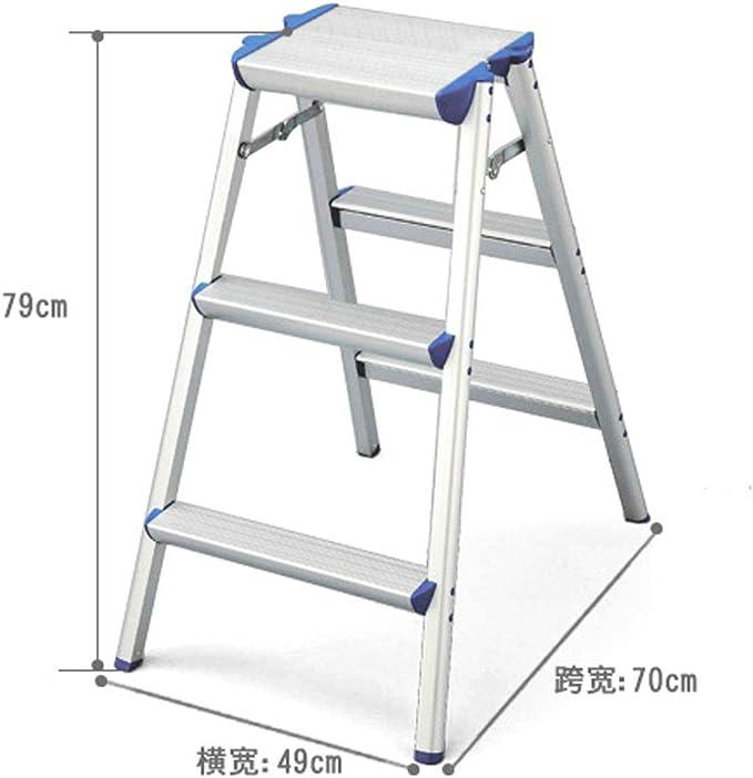 Yang baby Escalera para el hogar Plegable de Aluminio en Espiga Escalera Ancha Pedal Antideslizante Paso Taburete (Size : 79 * 70 * 49cm): Amazon.es: Hogar