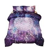 Queen Size Purple Bedding Sets Meeting Story 3Pcs Galaxy Dream Catcher Mandala Bohemian Quilt Bedding Comforter Set (Galaxy-Purple, Queen)