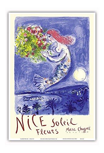 Nice Soleil Fleurs (Sunshine Flowers) - Vintage World Travel Poster by Marc Chagall c.1961 - Master Art Print - 13in x 19in - Flower Vendor Framed Print