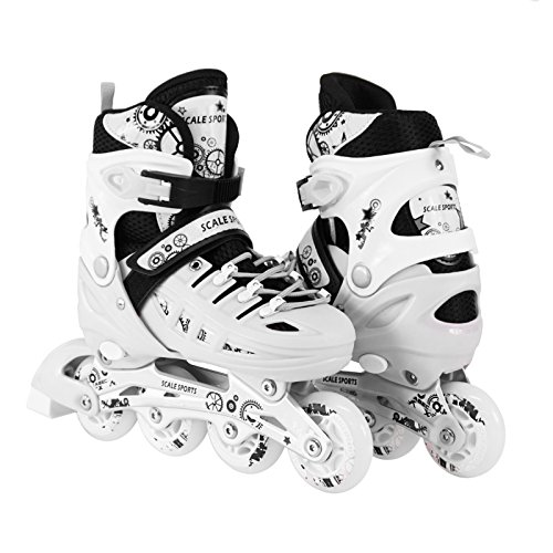 Scale Sports Kids Adjustable Inline Roller Blade Skates White Small Sizes Safe Durable Outdoor Featuring Illuminating Front Wheels 905 ()