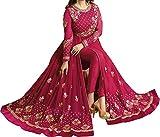 Ethnic Yard Women's Designer Front Back Faux Georgette Festive Wear Indian Style Pink Anarkali Salwar Suit Gown
