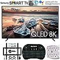 Samsung Q900 QLED Smart 8K UHD TV (2019 Model) (Renewed) w/Flat Wall Mount Kit Bundle for 45-90 TVs + 2.4GHz Wireless Backlit Keyboard Smart Remote + 6-Outlet Surge Adapter