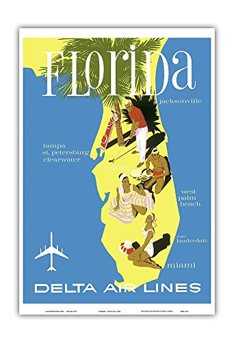 Pacifica Island Art Florida - Golf - Scuba Diving - Sunbathing - Delta Air Lines - Vintage Airline Travel Poster Unknown - Master Art Print - 13in x ()