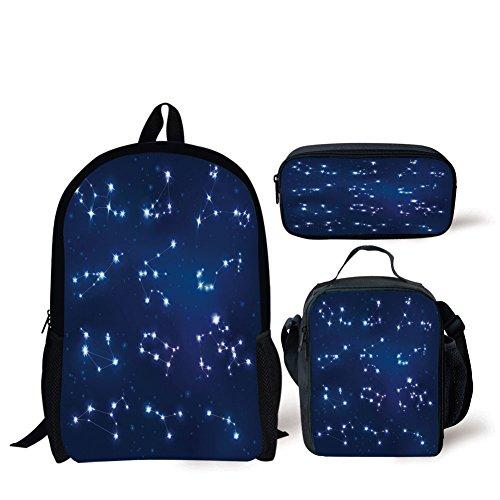 - iPrint School Lunch Pen,Constellation,Realistic Celestial Gemini Leo Pisces Sagittarius Galactic,Dark Blue Light Blue Purple,Bags