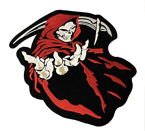 Grim Reaper Embroidered Large Back Patch Angel Devil Motorcycle Biker Club Series Jacket Vests Ghost Hog Outlaw Middle Finger Skull Bone Iron or Sew-on Emblem Badge Appliques Application -