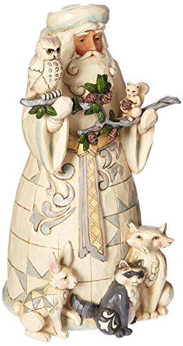 Heartwood Creek by Jim Shore Woodland Santa Claus Figurine Sculpture - White Santa Figurine