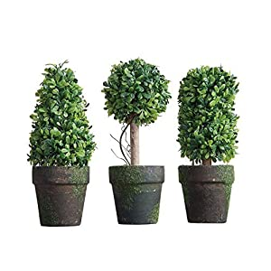 PVC Topiary In Pot SET OF 3 Styles Artificial Plant Shrub Bush Country Home Garden Décor 16