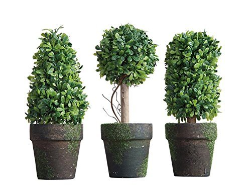 PVC Topiary In Pot SET OF 3 Styles Artificial Plant Shrub Bush Country Home Garden Décor