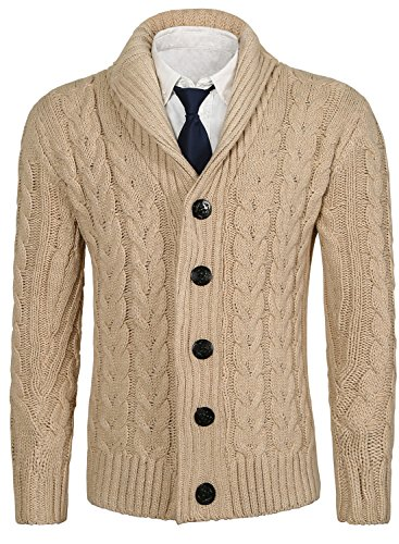 MIEDEON Mens Casual Stand Collar Cable Knitted Button Down Cardigan Sweater (S, K2-Beige) - Collar Mens Sweater