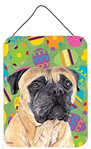 "Caroline's Treasures SC9465DS1216 Mastiff Easter Eggtravaganza Aluminium Metal Wall or Door Hanging Prints, 16"" x 12"", Multicolor"