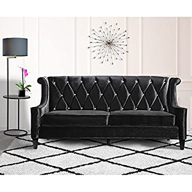 Armen Living Barrister Sofa with Crystal Buttons, Black Velvet, 35x83x38