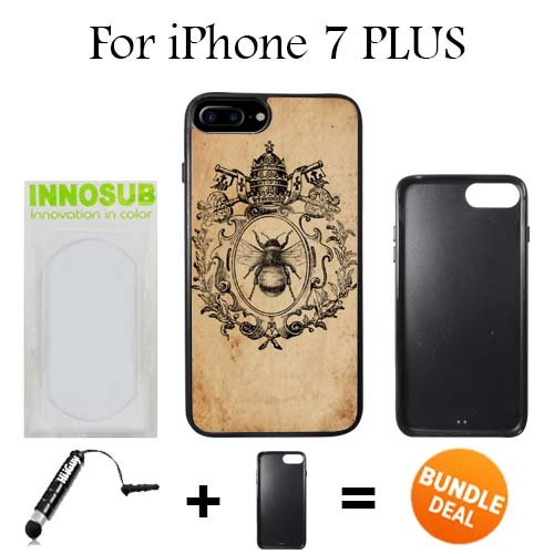 Innosub Custom iPhone 7 PLUS Case (Wreath Crown Bee ) Edge-to-Edge Rubber Black Cover with Shock and Scratch Protection | Lightweight, Ultra-Slim | Includes Stylus Pen