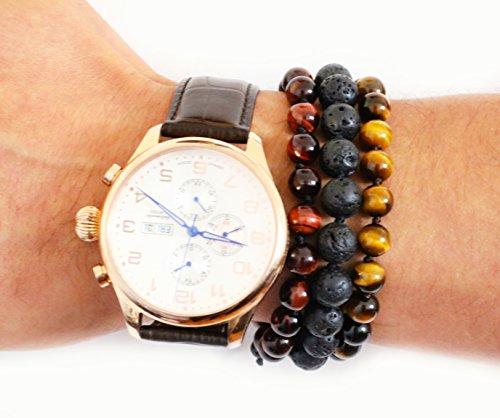 (Adjustable Mala Bracelet for Men - Tiger's Eye Red - Handmade Beaded Bracelet for Men - Tigers Eye Bracelet )