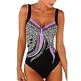 Choosebuy Womens One-Piece Swimsuit Padded Print Bikini Monokini Backless Push-up Bra Bathing Beachwear (Purple, S,)