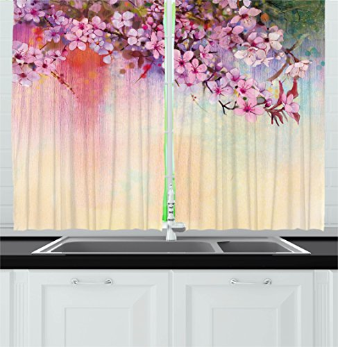 Ambesonne Watercolor Flower Home Decor Kitchen Curtains, Asian Temperate Zone Branch Mass Wisteria Pollen Cultivar Artwork, Window Drapes 2 Panels Set for Kitchen Cafe, 55W X 39L Inches, Multi ()